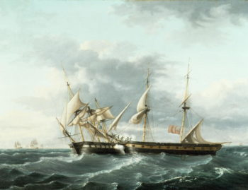 Naval Engagement between USS Wasp and HMS Frolic 1815 | Thomas Birch | oil painting