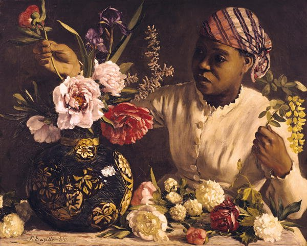 Negress with Peonies 1870 | Jean Frederic Bazille | oil painting