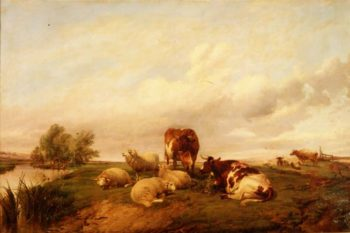 On Canterbury Meadows 1861 | Thomas Sidney Cooper | oil painting