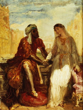 Othello and Desdemona in Venice 1850   Theodore Chasseriau   oil painting