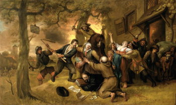 Peasants and Soldiers Outside a Tavern An Allegory of the Rape of the Netherlands | Jan Havicksz Steen | oil painting