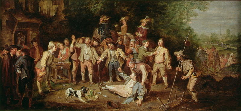 Peasants Brawling Outside a Tavern   Pieter Angillis   oil painting