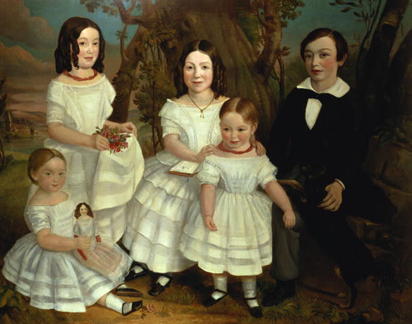Portrait of a boy and his four sisters 1830 | John A Giles | oil painting