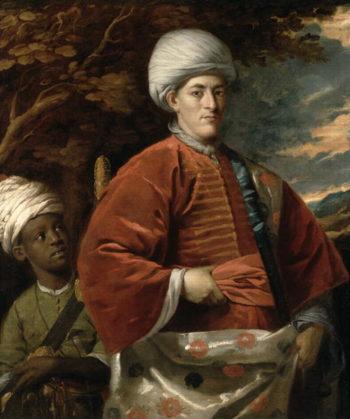 Portrait of a Gentleman in Oriental Dress with an Oriental Pageboy | Benjamin Wilson | oil painting