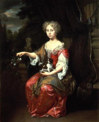 Portrait of a Lady holding her pet King Charles Spaniel   Jan Verkolje   oil painting