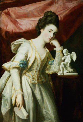 Portrait of a Lady with a Statuette of Cupid | Francis Cotes | oil painting
