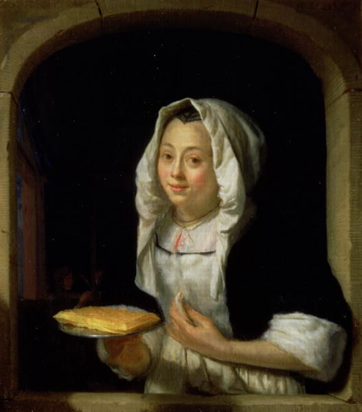 Portrait of a maid holding a waffle | Godfried Schalcken | oil painting