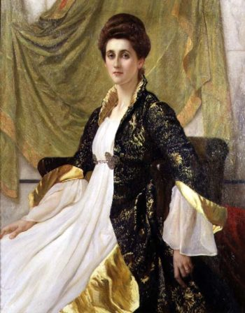 Portrait of Mrs Ernest Moon nee Emma de Villiers Lamb 1888 | Sir William Blake Richmond | oil painting