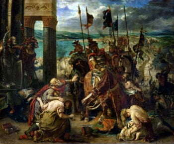 The Crusaders entry into Constantinople 12th April 1204 | Eugene Delacroix | oil painting