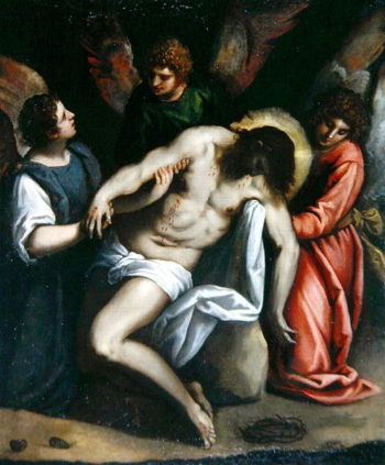 The Dead Christ Held by Three Angels | Palma Il Giovane | oil painting