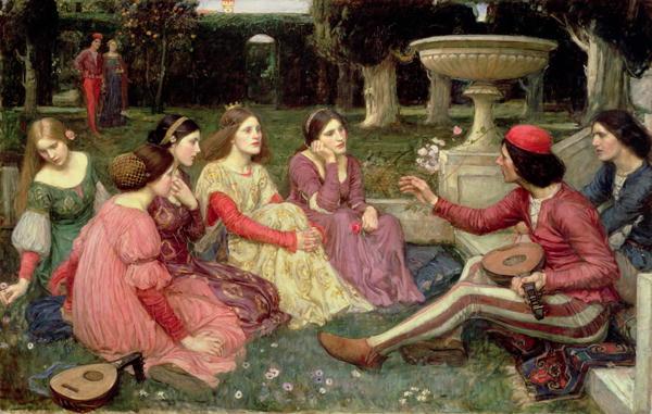 The Decameron 1916   John William Waterhouse   oil painting