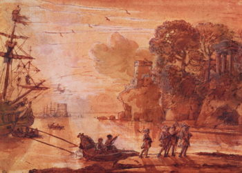 The Disembarkation of Warriors in a Port possibly Aeneas in Latium 1660 65 | Claude Lorrain | oil painting