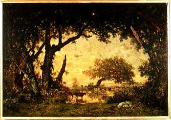 The Edge of the Forest at Fontainebleau Setting Sun 1850 51 | Theodore Rousseau | oil painting