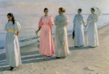 Promenade on the Beach | Michael Peter Ancher | oil painting
