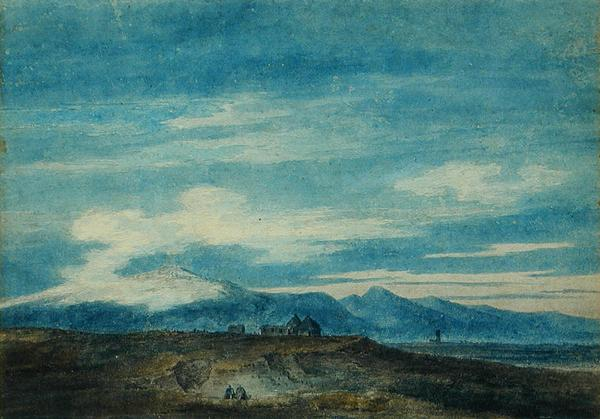The Euganean Hill from Padua   John Robert Cozens   oil painting