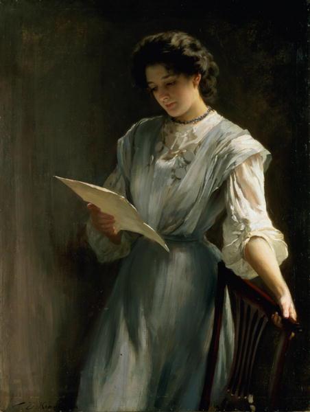 Reading the Letter | Thomas Benjamin Kennington | oil painting