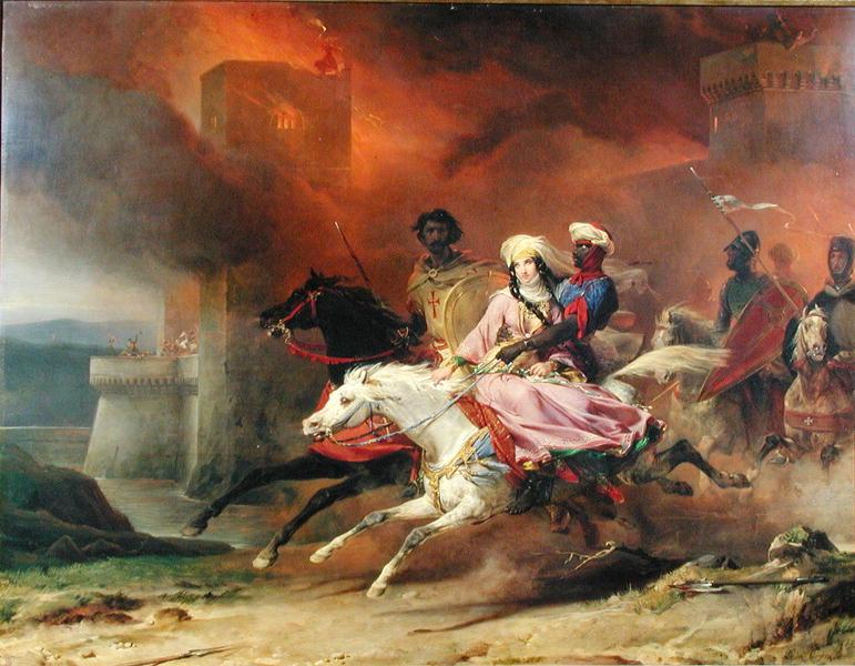Rebecca and Brian de Bois Guilbert 1828   Leon Cogniet   oil painting