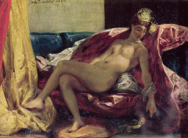 Reclining Odalisque or Woman with a Parakeet 1827 | Delacroix | oil painting