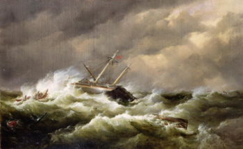 Rescue on the Goodwin Sands by the North Deal Lifeboat | Edward William Cooke | oil painting