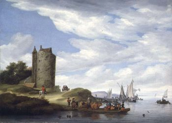 River Estuary with Watchtower | Salomon van Ruisdael or Ruysdae | oil painting