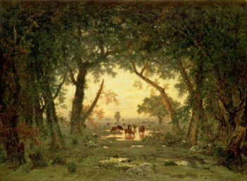 The Forest at Fontainebleau Morning | Pierre Etienne Theodore Rousseau | oil painting