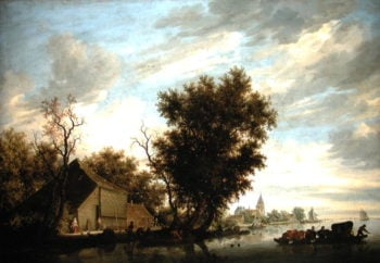 River Scene with a Ferry Boat | Salomon van Ruysdael | oil painting
