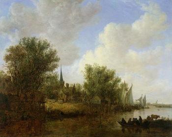 River scene with a View of Overschie 1651 | 0Jan Josephsz van Goyen | oil painting