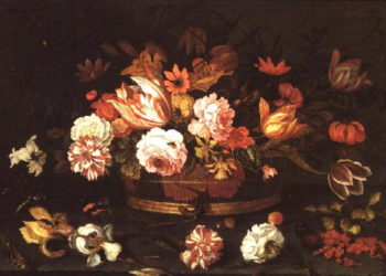 Roses Tulips in a basket | Balthasar van der Ast | oil painting