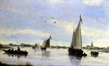 Sailing Boats on a River | Salomon van Ruisdael or Ruysdael | oil painting