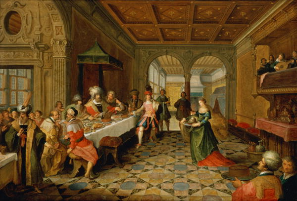 Salome Presenting the Head of St John the Baptist to King Herod   Frans Francken   oil painting