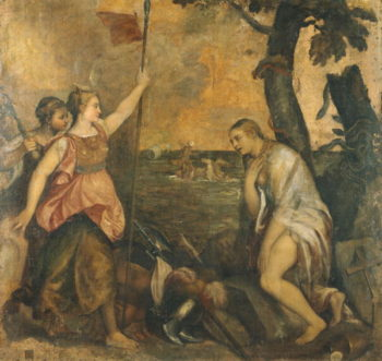 Religion succoured by Spain   Titian   oil painting