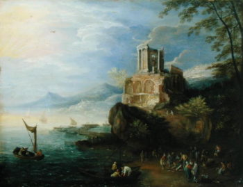 Sea Coast with the Temple of Vesta | Paul Brill | oil painting