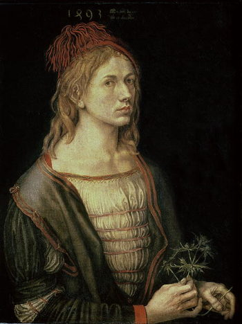 Self Portrait with a Thistle 1493 | Albrecht Durer | oil painting