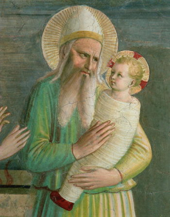 Simeon with the Christ Child detail from The Presentation in the Temple 1442 | Fra Angelico | oil painting
