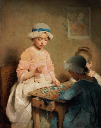 The Game of Lotto 1865 | Charles Chaplin | oil painting