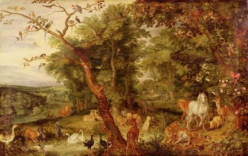 The Garden of Eden in the background The Temptation | Jan the Elder Brueghel | oil painting