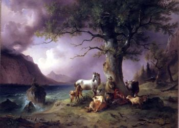 Sheltering from the storm | Friedrich Gauermann | oil painting