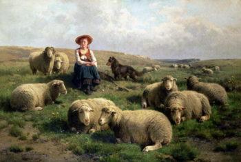 Shepherdess with Sheep in a Landscape | Leemputten | oil painting