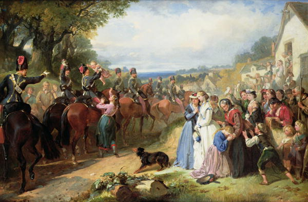 The Girls We Left Behind Us The Departure of the 11th Hussars for India   Thomas Jones Barker   oil painting