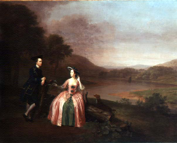 Sir George and Lady Strickland in the Grounds of Boynton Hall 1751 | Arthur Devis | oil painting