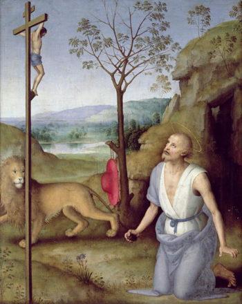 St Jerome in the Desert 1499 1502 | Pietro Perugino | oil painting