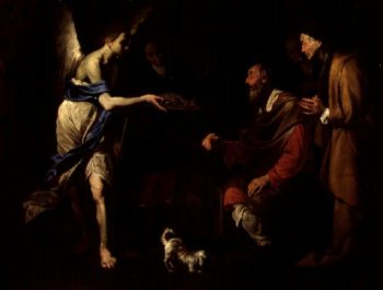 The Healing of Tobit by Tobias | Bernardo Cavallino | oil painting