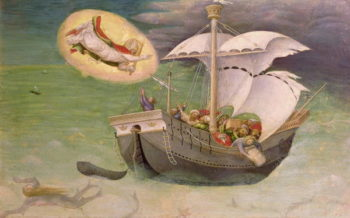 St Nicholas Saves a Ship from Wreckage predella panel from the Quaratesi Altarpiece 1425 | Gentile da Fabriano | oil painting