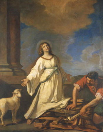 St Agnes on the Pyre | Guercino | oil painting