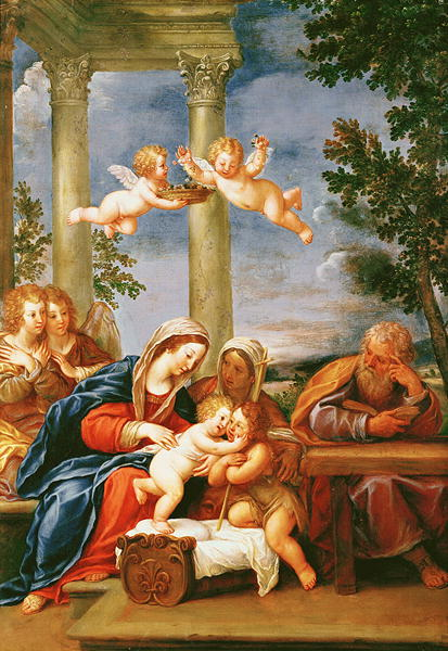 The Holy Family with St Elizabeth and St John the Baptist 1645 50 | Francesco Alban | oil painting