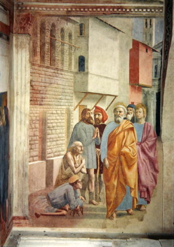 St Peter Healing With His Shadow 1427   Tommaso Masaccio   oil painting