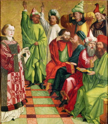 St Stephen before the Judges from the Altarpiece of St Stephen 1470 | Michael Pacher | oil painting