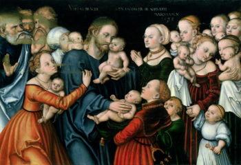 Suffer the Little Children to Come Unto Me 1538 | Lucas the Elder Cranach | oil painting