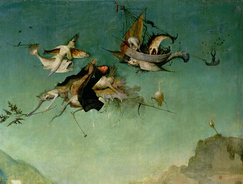Temptation of St Anthony detail of left hand panel | Hieronymus Bosch | oil painting