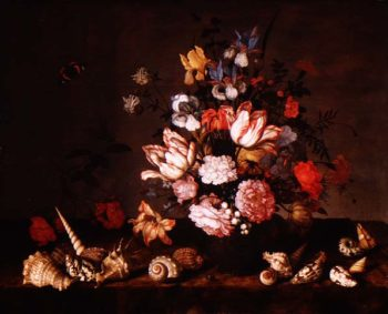 Still life of a vase of flowers with shells | Balthasar van der Ast | oil painting